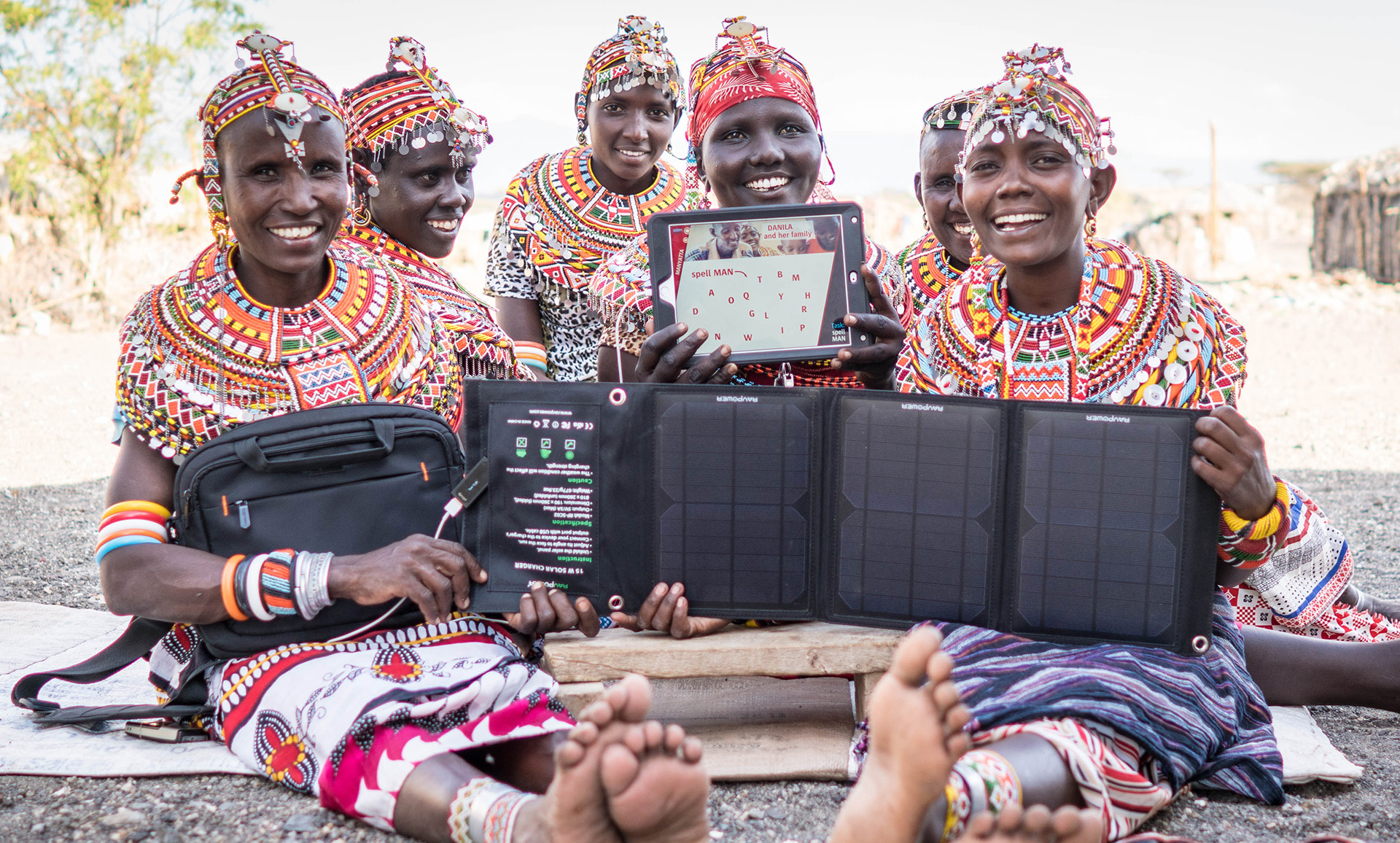 Naning´oi women group with full tablet equipment like iPad with cover, bag and solar charger, 2016