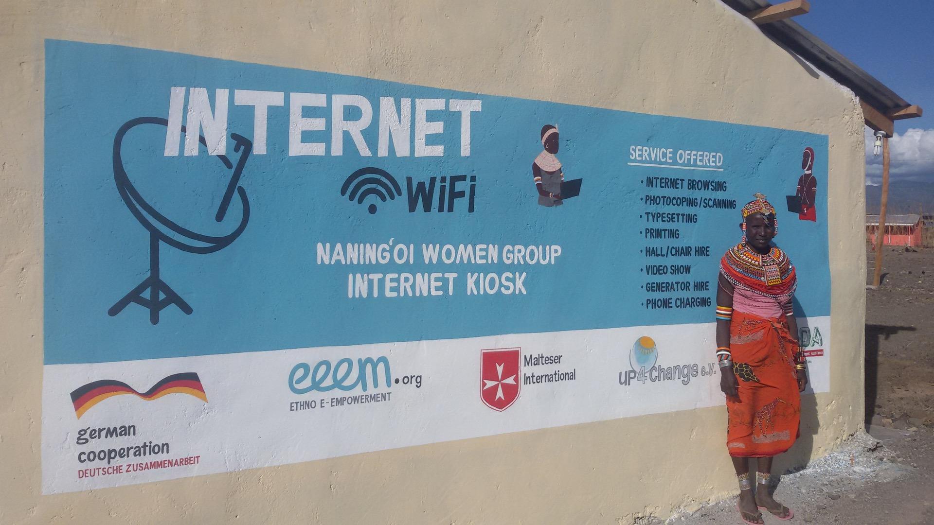 """Talking Wall"" for the internet kiosk, Loiyangalani (Masabit County), 2016"