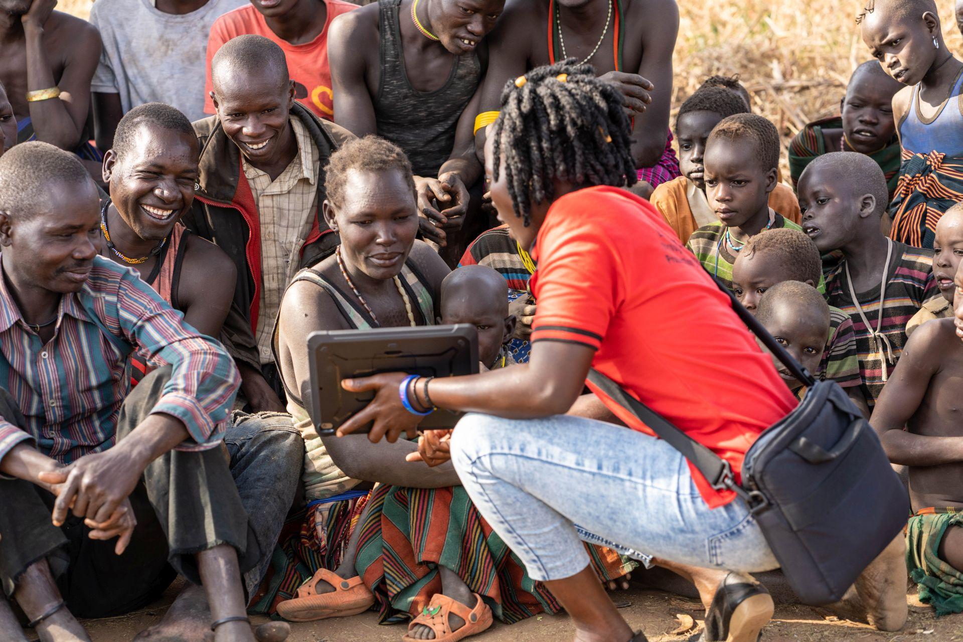 Testing the eBooks in the communities (Karamoja, Uganda, 2020)